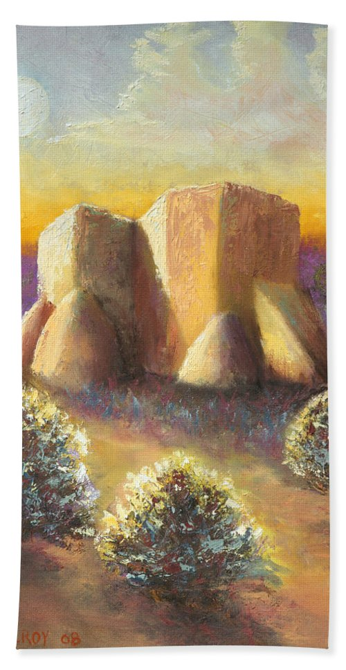 Landscape Bath Towel featuring the painting Mission Imagined by Jerry McElroy
