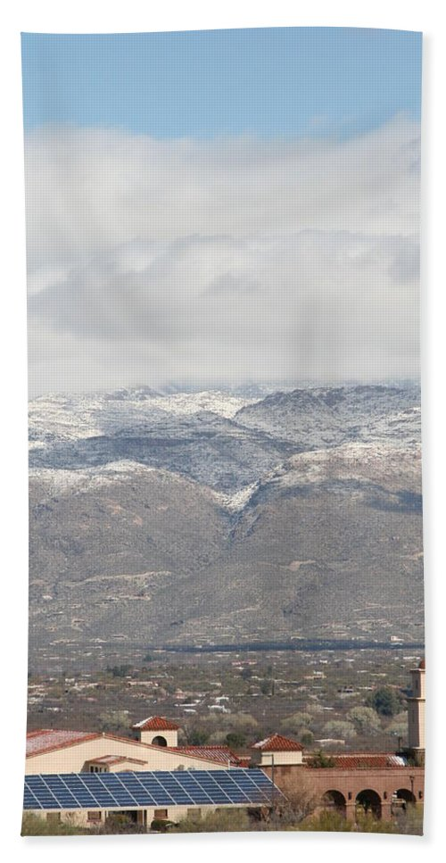 Mission Hand Towel featuring the photograph Mission In Winter by David S Reynolds