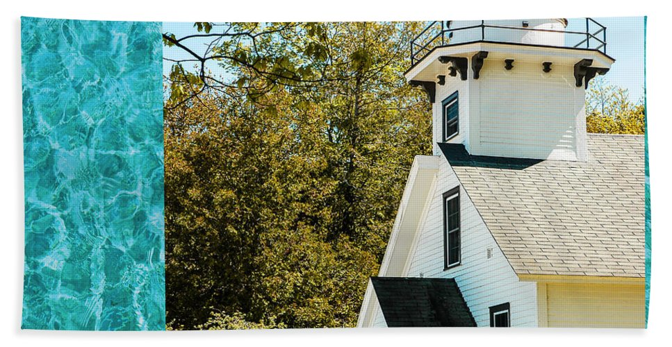 Mission Point Light House Michigan Hand Towel featuring the photograph Mission Point Light House Michigan by LeeAnn McLaneGoetz McLaneGoetzStudioLLCcom