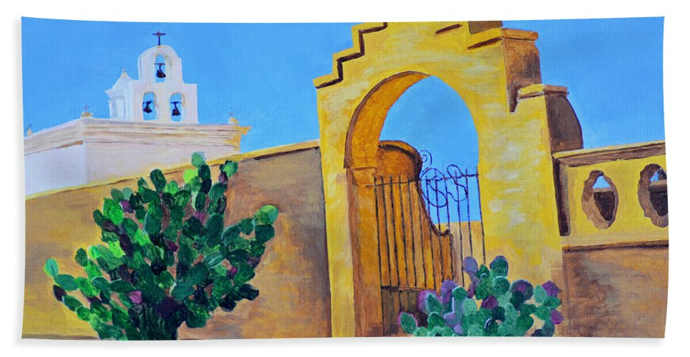 Mission Hand Towel featuring the painting Mission San Xavier by Rodney Campbell