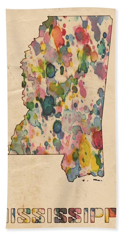 Mississippi Bath Sheet featuring the painting Mississippi Map Vintage Watercolor by Florian Rodarte