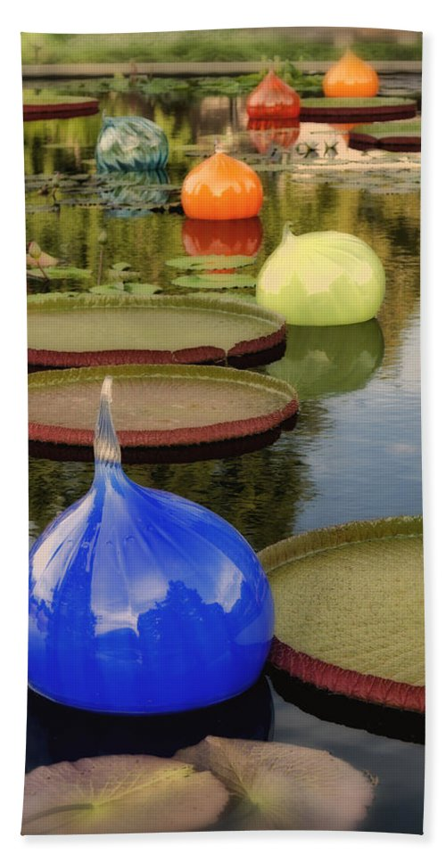 Glass Bath Sheet featuring the photograph Missouri Botanical Garden Six Glass Spheres And Lilly Pads Img 2464 by Greg Kluempers