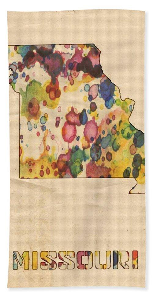 Missouri Bath Sheet featuring the painting Missouri Map Vintage Watercolor by Florian Rodarte