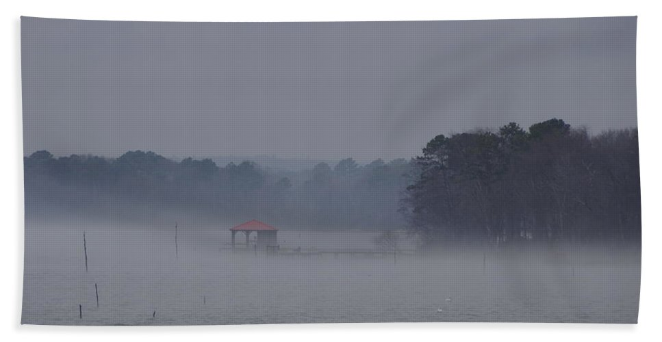 Mist Hand Towel featuring the photograph Mist On The Waters by Darrell Clakley