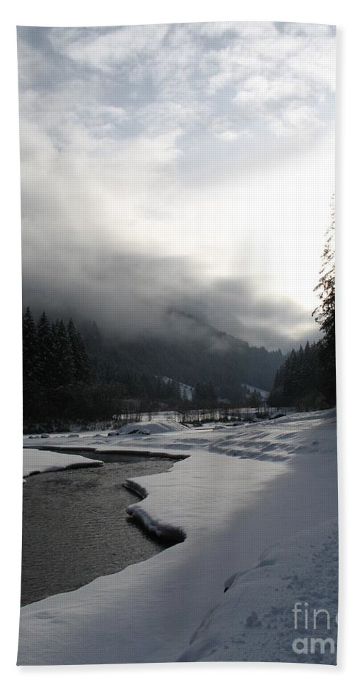 Valley Bath Sheet featuring the photograph Mist Over A Snowy Valley by Christiane Schulze Art And Photography
