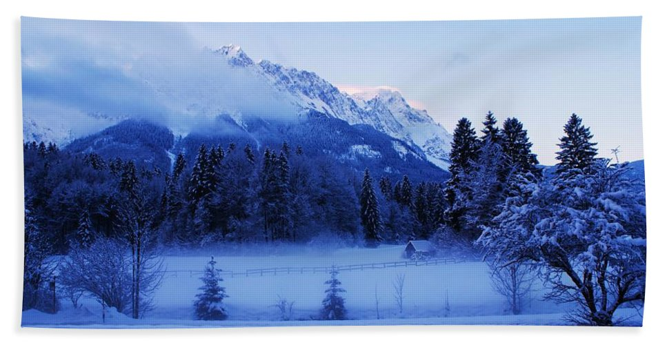 Snow Landscape Hand Towel featuring the photograph Mist Over Alps by Misuk Jenkins