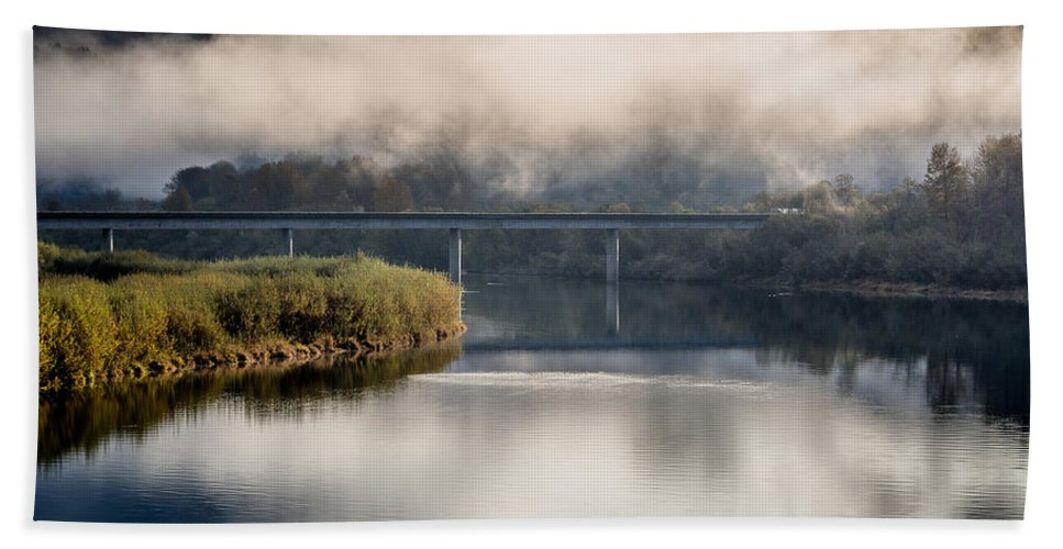 Fog Hand Towel featuring the photograph Mists And Bridge Over Klamath by Greg Nyquist