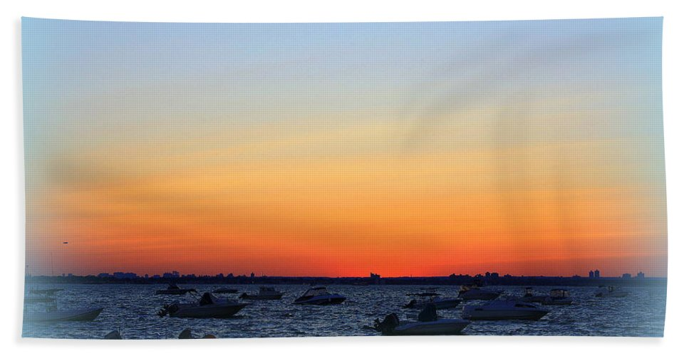 Sunset Hand Towel featuring the photograph Misty At The Bay by Dora Sofia Caputo Photographic Design and Fine Art