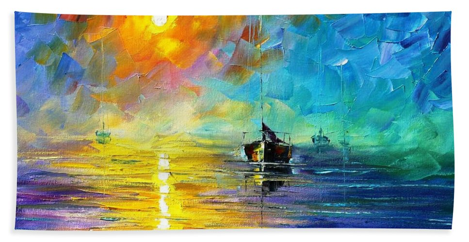 Art Gallery Bath Sheet featuring the painting Misty Calm - Palette Knife Oil Painting On Canvas By Leonid Afremov by Leonid Afremov