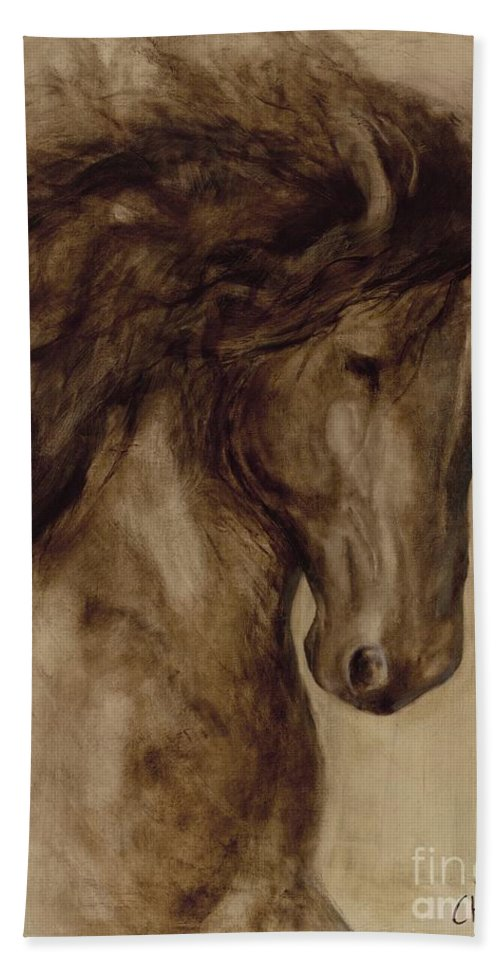 Horse Hand Towel featuring the painting Misty by Catherine Davis