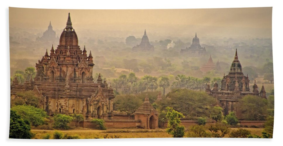 Myanmar Hand Towel featuring the photograph Misty Dawn 2 by Claude LeTien