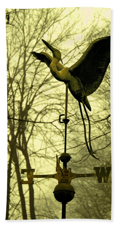 Mist Hand Towel featuring the photograph Misty Egret - Gold by Photos By Cassandra