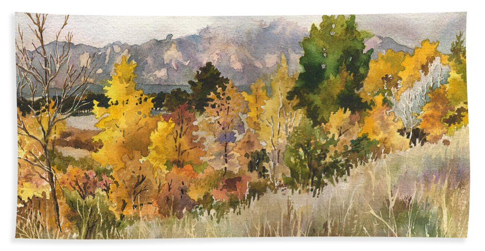 Cloud Painting Hand Towel featuring the painting Misty Fall Day by Anne Gifford