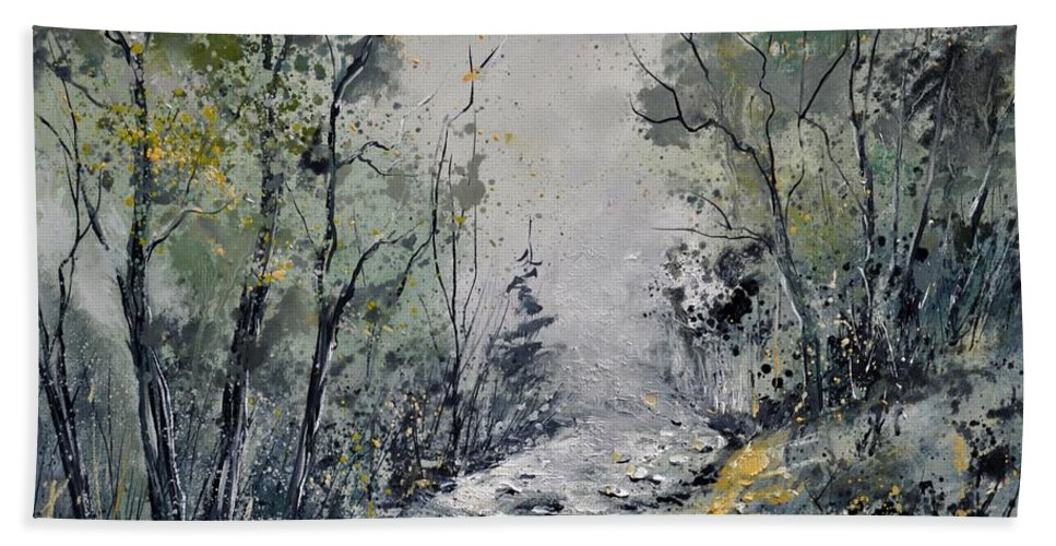 Landscape Hand Towel featuring the painting Misty Forest by Pol Ledent