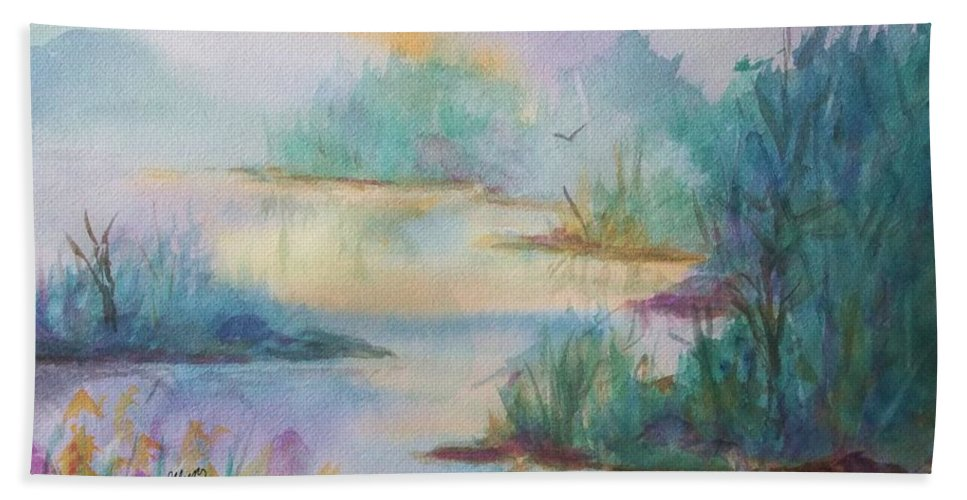 Misty Morn Hand Towel featuring the painting Misty Morn On A Mountain Lake by Ellen Levinson