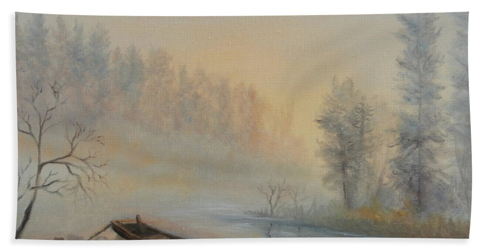 Luczay Hand Towel featuring the painting Misty Morning by Katalin Luczay