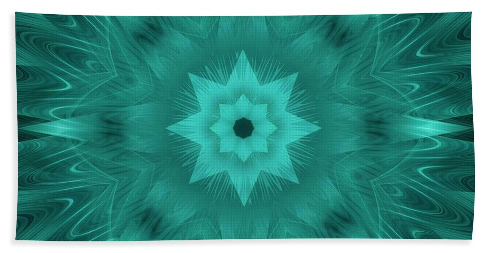Star Hand Towel featuring the digital art Misty Morning Star Bloom by Elizabeth McTaggart