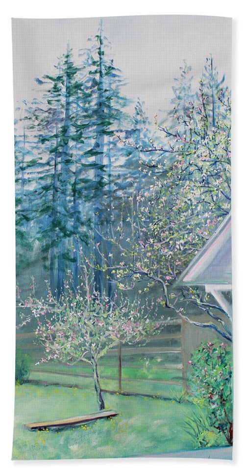 Garden Painting Bath Sheet featuring the painting Misty Morning With Apple Blossoms And Redwoods by Asha Carolyn Young