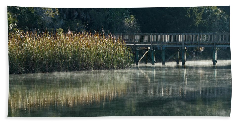 Florida Bath Sheet featuring the photograph Misty Pond by Jane Luxton