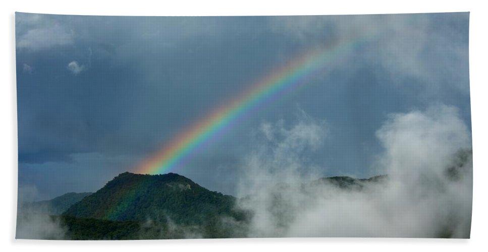 Spectrum Hand Towel featuring the photograph Misty Rainbow by Darren Burton