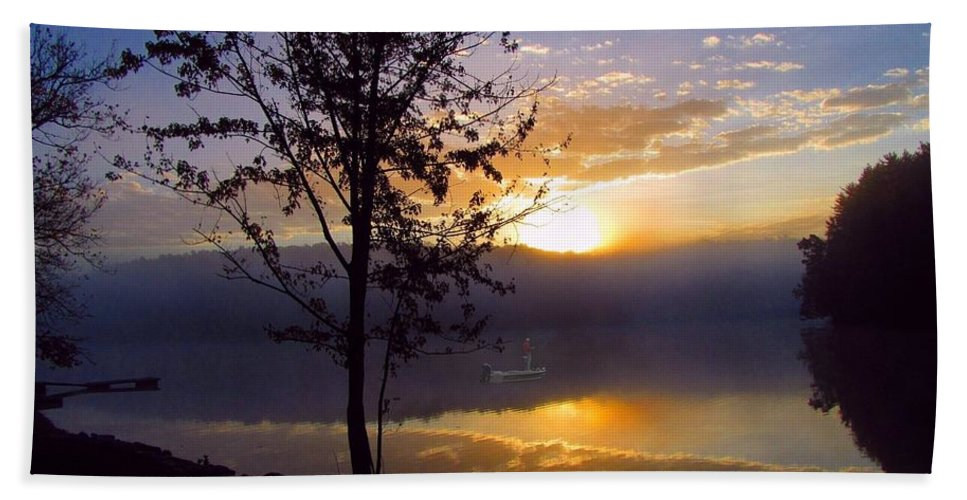 Fishing Bath Towel featuring the photograph Misty Reflections by David Dehner