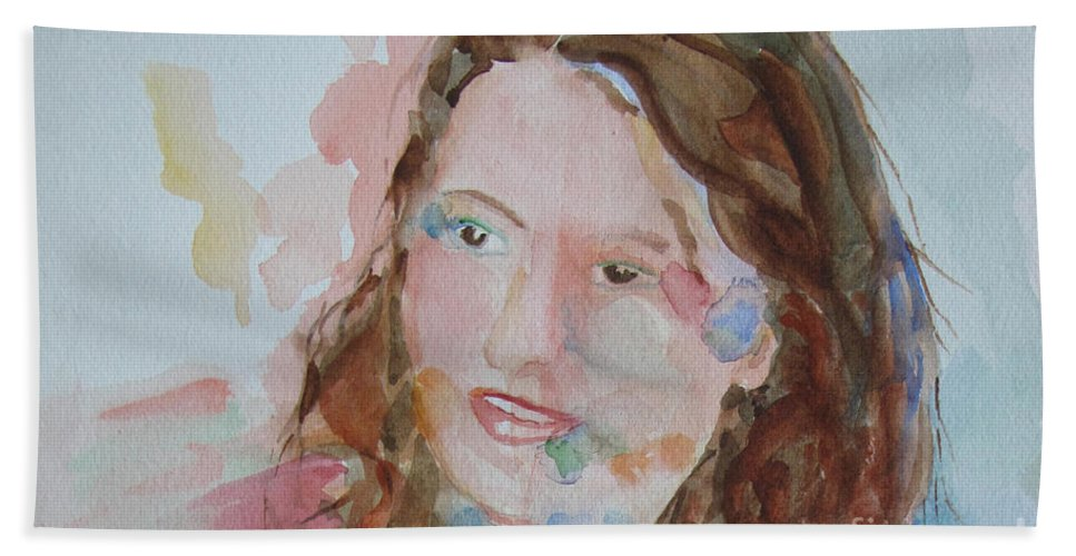Woman Hand Towel featuring the painting Misty by Sandy McIntire