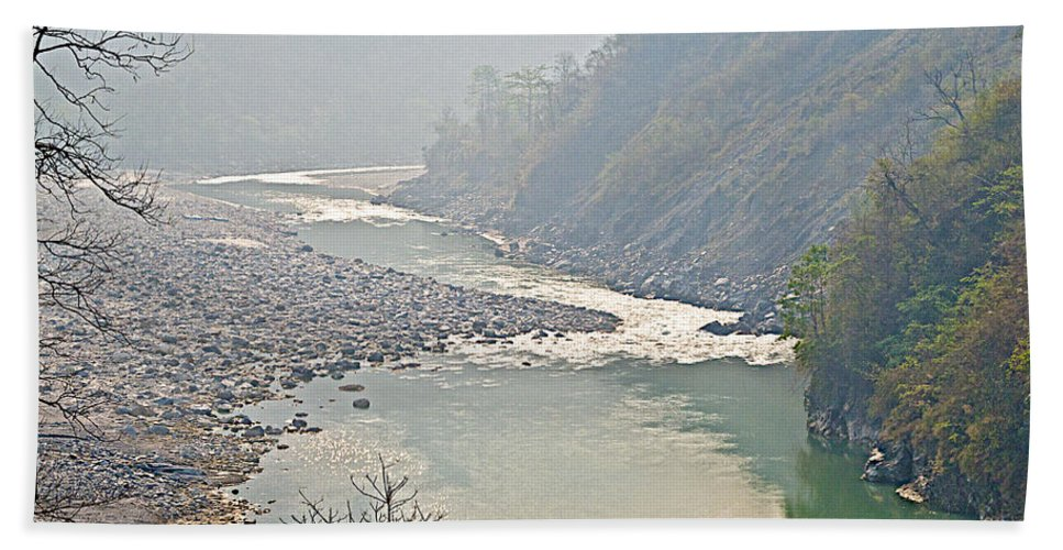 Misty Seti River Rapids In Seti River In Nepal Hand Towel featuring the photograph Misty Seti River Rapids In Nepal by Ruth Hager