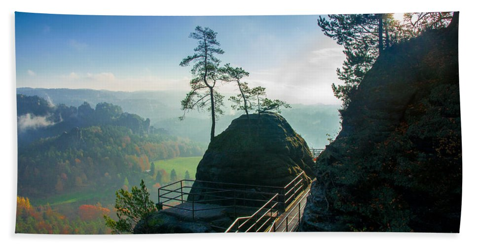 Germany Hand Towel featuring the photograph Misty Sunrise On Neurathen Castle by Sun Travels