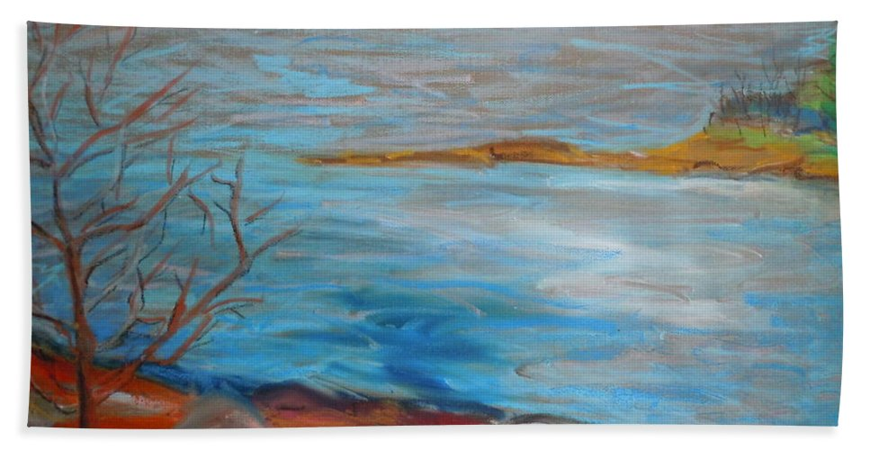 Landscape Bath Sheet featuring the painting Misty Surry by Francine Frank