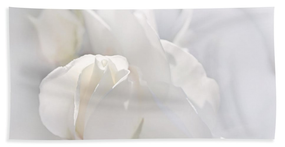 Rose Bath Sheet featuring the photograph Misty White Roses by Jennie Marie Schell