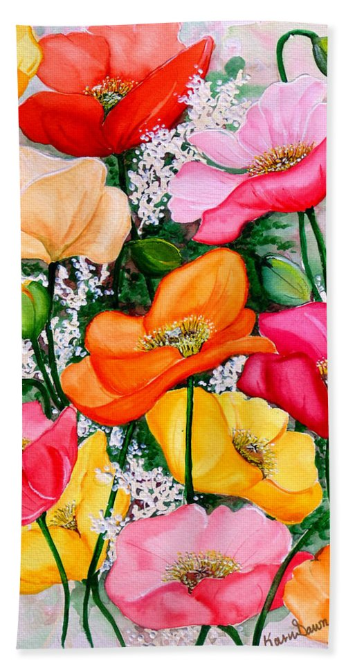 Poppies Hand Towel featuring the painting Mixed Poppies by Karin Dawn Kelshall- Best
