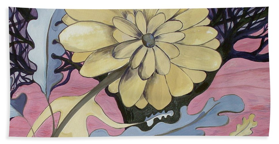 Flower.surreal Bath Sheet featuring the painting Miz Fleur by Sue Wright