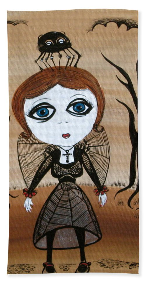 Gothic Hand Towel featuring the painting Miz Goth by Sue Wright