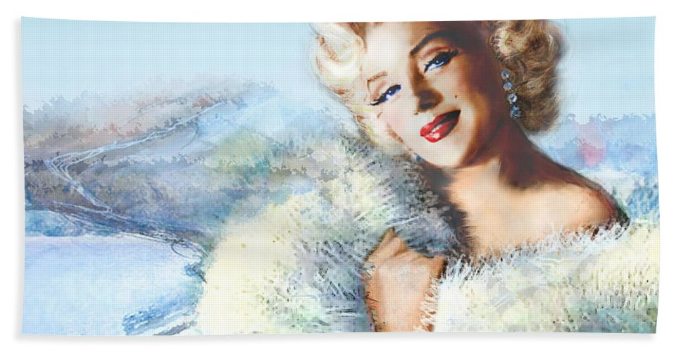Marilyn Monroe Bath Sheet featuring the painting Mm 126 D 4 Auf A4 by Theo Danella