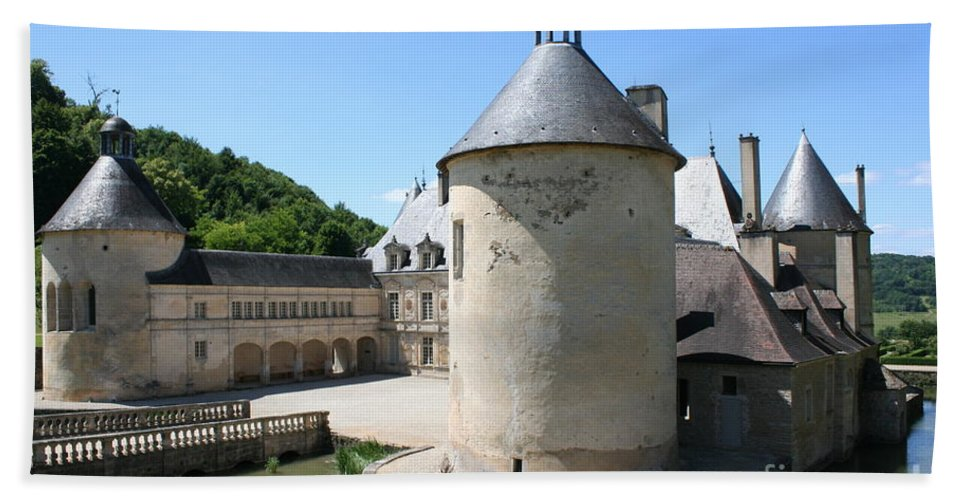 Moat Hand Towel featuring the photograph Moated Castle - Bussy Rabutin - Burgundy by Christiane Schulze Art And Photography