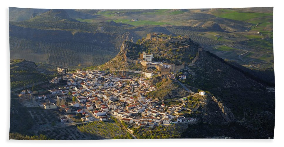 Aerial Photo Hand Towel featuring the photograph Moclin Castle by Guido Montanes Castillo