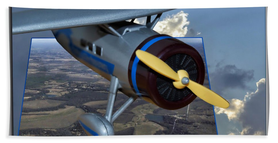 Out Of Bounds Bath Sheet featuring the photograph Model Planes Top Wing 04 by Thomas Woolworth