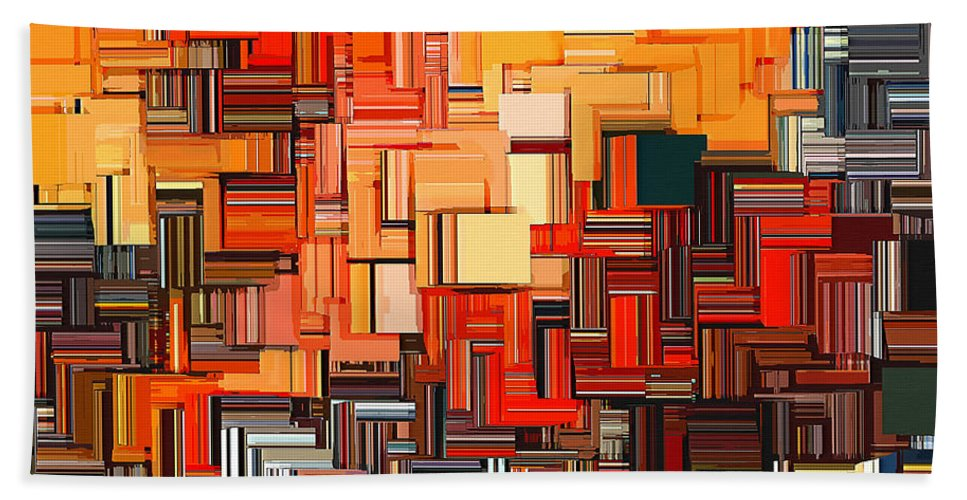 Squares Bath Sheet featuring the digital art Modern Abstract Xxxiv by Lourry Legarde