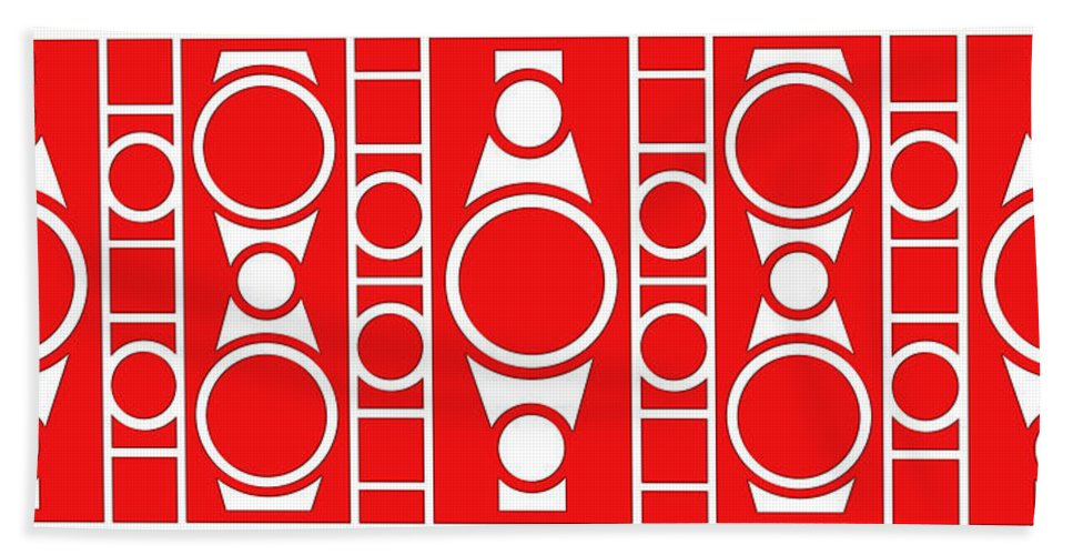 Red & White Bath Sheet featuring the digital art Modern Design II by Mike McGlothlen