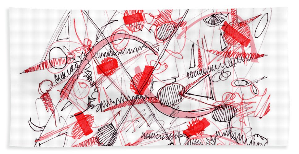 Modern Drawing Bath Sheet featuring the drawing Modern Drawing Ninety-five by Lynne Taetzsch
