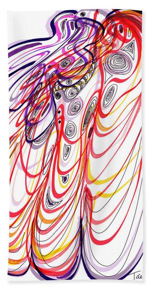 Modern Drawing Bath Sheet featuring the drawing Modern Drawing Sixty-three by Lynne Taetzsch