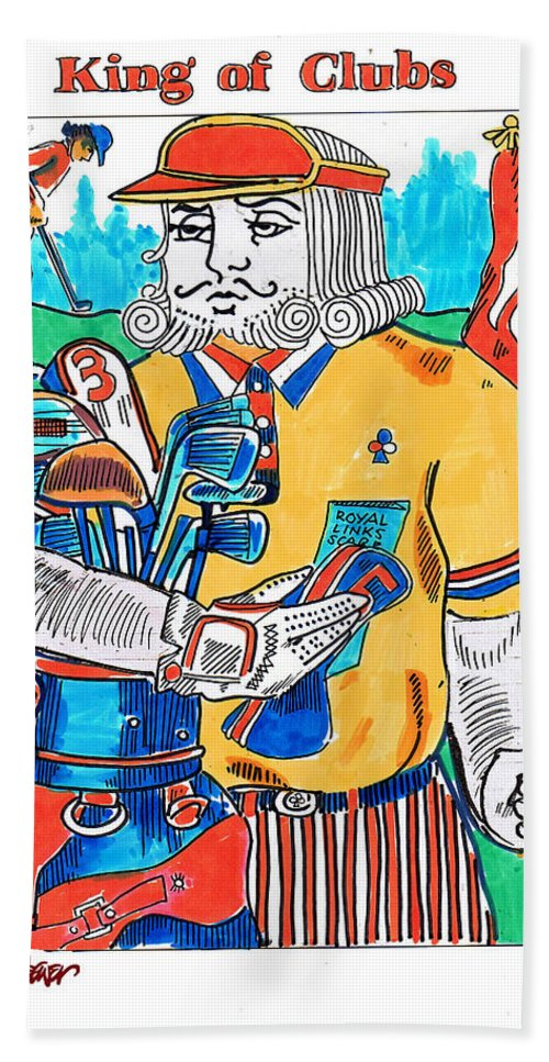 Modern King O'clubs Hand Towel featuring the drawing Modern King O' Clubs by Seth Weaver