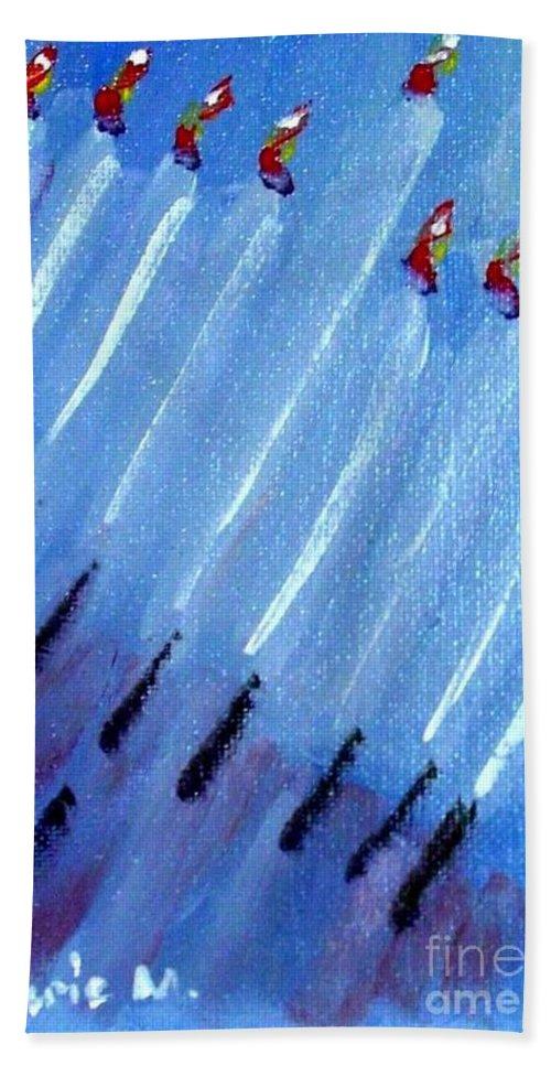 Menorah Bath Sheet featuring the painting Modern Menorah by Laurie Morgan