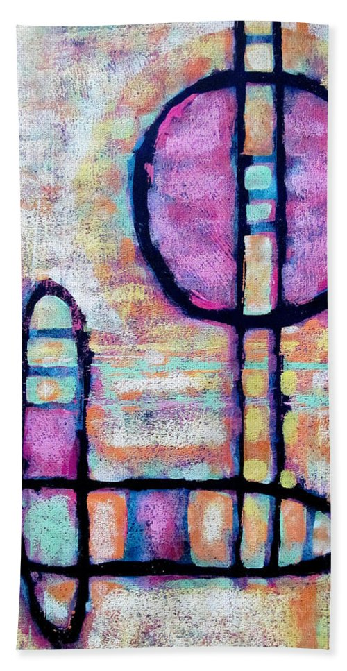 Abstract Painting Bath Sheet featuring the painting Modes Of Transportation by Maria Huntley
