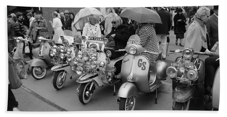 Mods Hand Towel featuring the photograph Mods Scooters by Robert Phelan