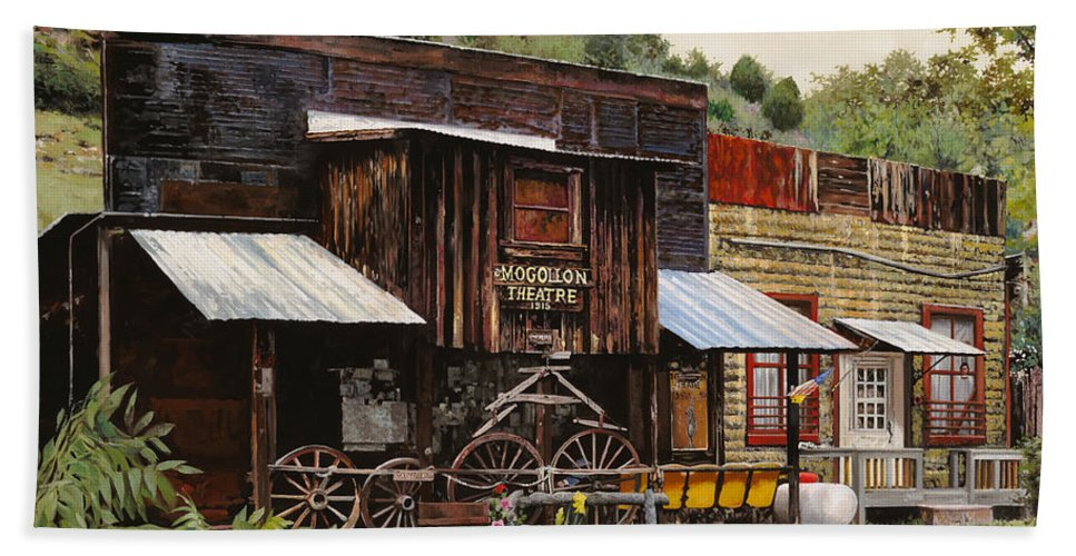 Theatre Bath Sheet featuring the painting Mogollon-theatre-new Mexico by Guido Borelli