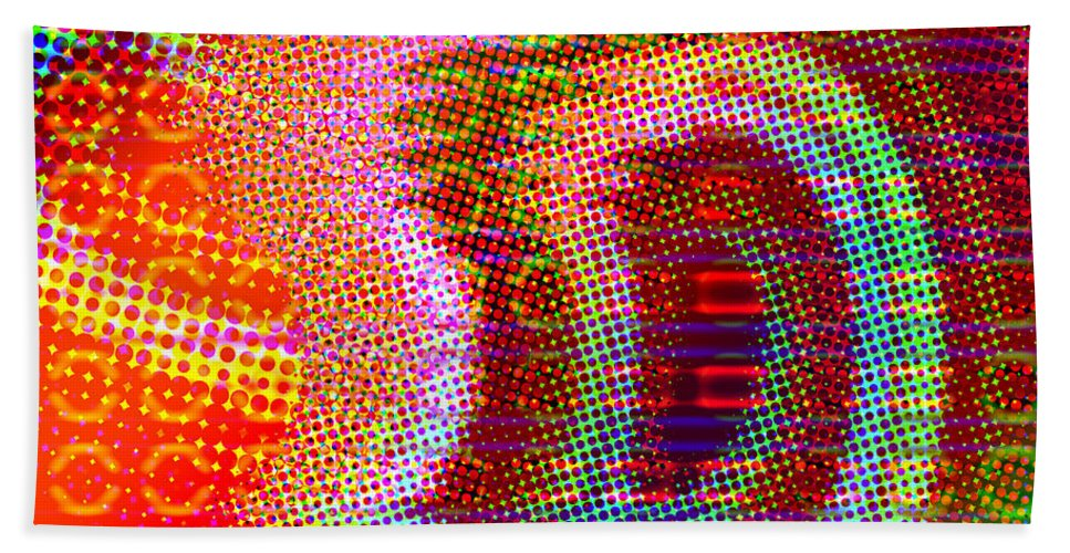 Abstract Bath Sheet featuring the digital art Moire No 4 by James Kramer