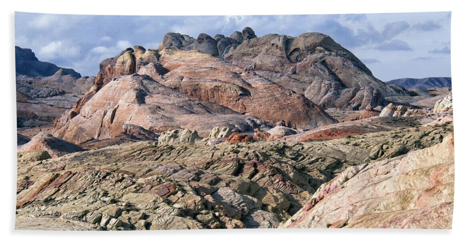 Valley Of Fire Hand Towel featuring the photograph Mojave Desert View - Valley Of Fire by Debby Richards