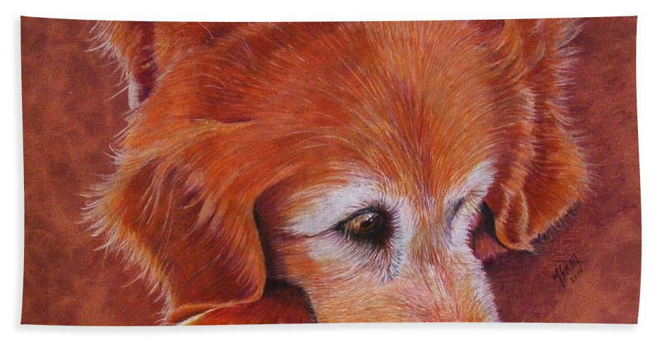 Golden Retriever Hand Towel featuring the drawing Mollie by Marilyn Smith