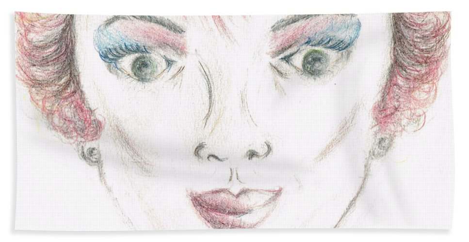 Portrait Bath Sheet featuring the drawing Mollys Makeover/ Pink Day by Teresa White